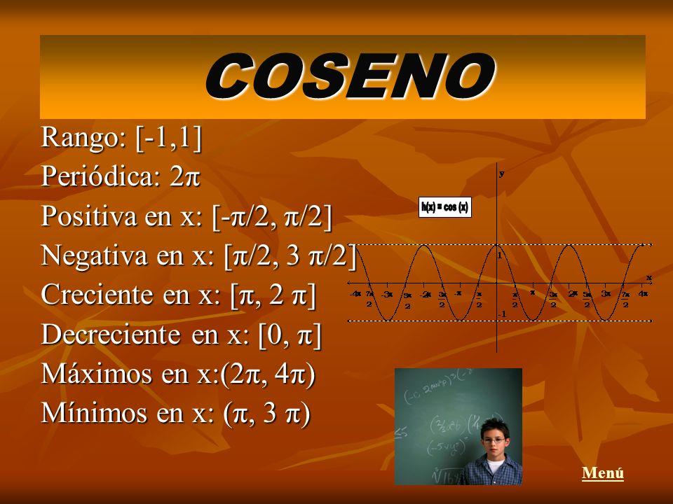 COSENO h(x) = cos (x) Rango: [-1,1] Periódica: 2π